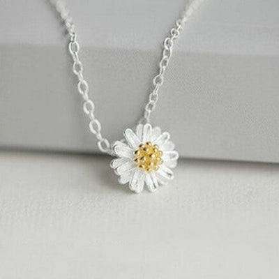 1pc Sterling Silver 925 Pendant Necklace Charm Clavicle Chain Necklace Beauty Daisy Sunflower Jewelry Necklace For Women Girls - Only Sunflowers