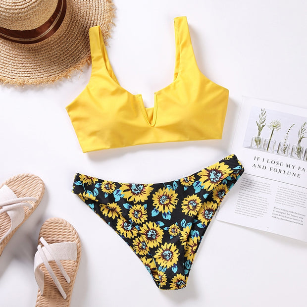 Sexy 2020 Bikini Swimsuit Women Swimwear Push Up Bikinis Set Sunflower Print Female High Waist Swimming Suits Bathing Suit - Only Sunflowers