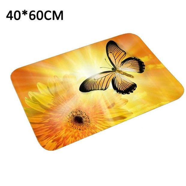 Fleece Doormat 40x60cm Welcome Home Rectangle Anti-slip Carpet Rug Bedroom Entrance Floor Mats Sunflower Letter Pattern - Only Sunflowers