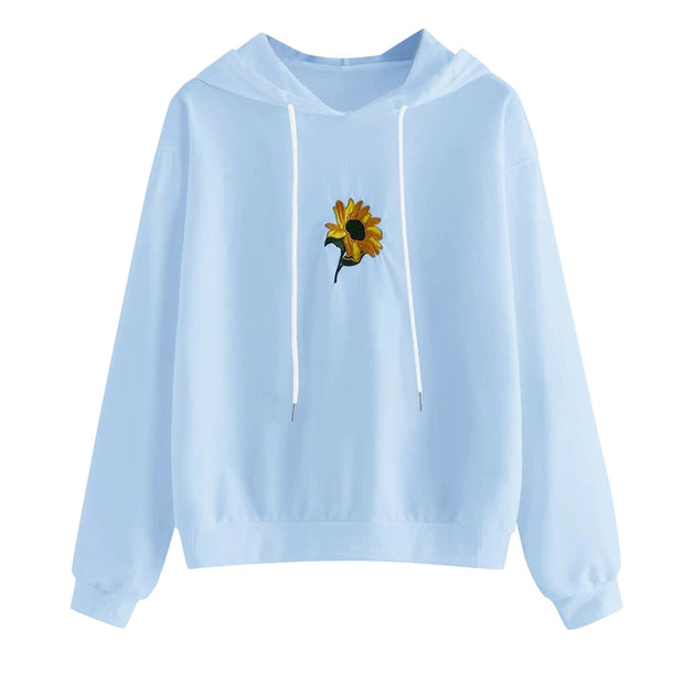 Oversize Sunflower Print Hooded Women Sweatshirt Pullover Long Sleeve Hooded Hoodie Casual Loose Cotton Sweatshirt Black Blue - Only Sunflowers