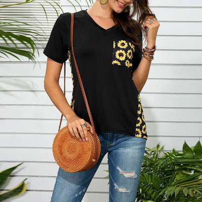 Vicabo Plus Size Black Tshirts Womens Tops Summer Fashion Pocket Leopard Sunflower Print T-shirt Female Patchwork V Neck Tops - Only Sunflowers