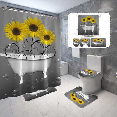 Ouneed Shower Curtains Set 4Piece Non Slip Sunflower pattern Toilet Polyester Cover Mat Set Waterproof Bathroom Shower Curtains - Only Sunflowers
