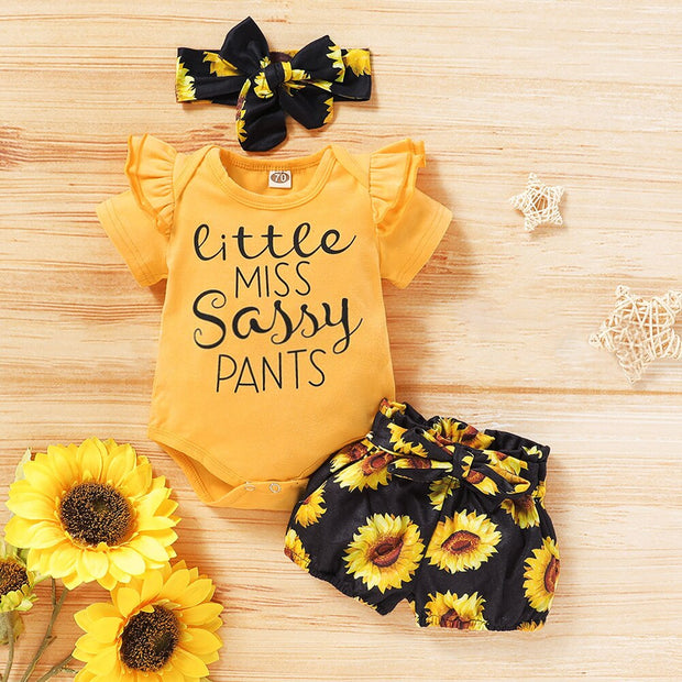 0-18M 3pcs Newborn Baby Romper Summer Cute Toddler Girl Jumpsuit Sunflower Printed Shorts Headband Cotton Outfits - Only Sunflowers