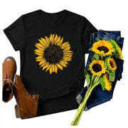 Summer Women's Sunflower Print T-Shirt Short Sleeve Round Neck Top Casual O-Neck Tops T-shirt Plus Size 5XL Camiseta Feminina - Only Sunflowers