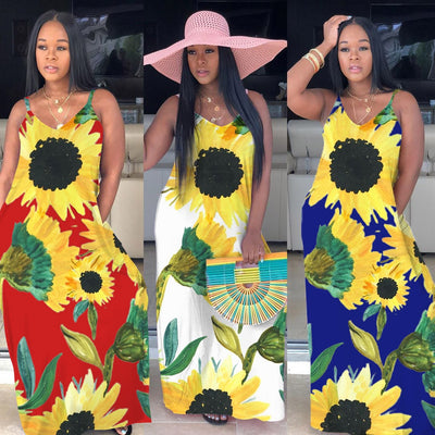 2020 Fashion Women Print Boho Floral Long Maxi Dress Sunflower Sleeveless Camisole Evening Party Summer Beach Sundress Robe - Only Sunflowers