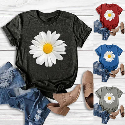 Women Floral Printed Sunflower T-Shirt Summer Short Sleeve  O-Neck Tops T-Shirt Female Blusas Streetwear tshirt new - Only Sunflowers