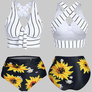 New Bikini 2020 Women Push-up Padded Plus Size Overlay Sunflower Print Bikini Swimsuit - Only Sunflowers