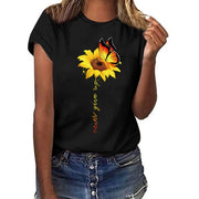 Summer Woman Tshirts Plus Size Sunflower Print Short Sleeved T-Shirt Blusas Tops - Only Sunflowers
