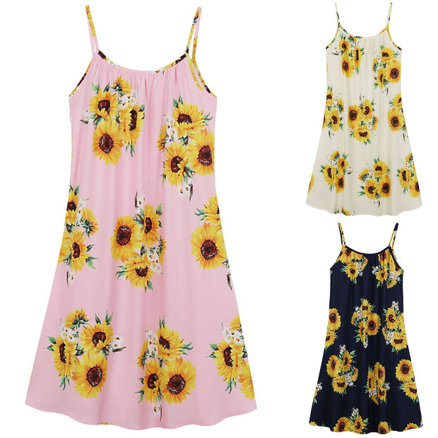 Summer Sunflower Printed Dress Women Slip Holiday Floral Print Sling Dress Elegant Casual Sleeveless Mini Sundresse - Only Sunflowers