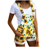 Jumpsuit Womens Sleeveles Sunflower Short Pajamas Set Pocket  Overalls One Piece Jumpsuit summer beach Jumpsuit - Only Sunflowers