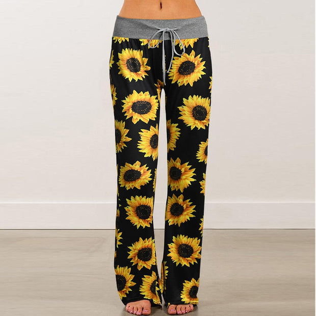 Womens Comfy Stretch Sunflower Print Drawstring Palazzo Wide Leg Lounge Pants - Only Sunflowers