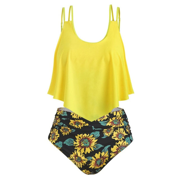 CHAMSGEND Summer Women's Large Size Ruffled High Waist Sunflower Print Bikini Swimsuit Sexy Fashion Beachwear Two-piece Swimsuit - Only Sunflowers