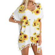Women's Tassels Sexy Swimsuit Beach Bathing Suit Bikini Cover Ups Swimwear Sunflower Print Summer Swimsuit Cover 2020 #38 - Only Sunflowers