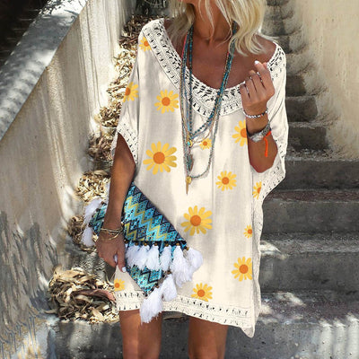 Summer Dresses For Women 2020 Loose Sunflower Print Mini Dresses Boho Solid Color Hollow Neck Dress Hollow Out Splice Dresses - Only Sunflowers