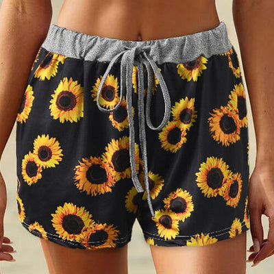 Hot Summer Casual Shorts Women Sunflower Print Loose Lady Home Shorts Jogging Beach Correndo Lady Short Pants Spodenki Damskie - Only Sunflowers