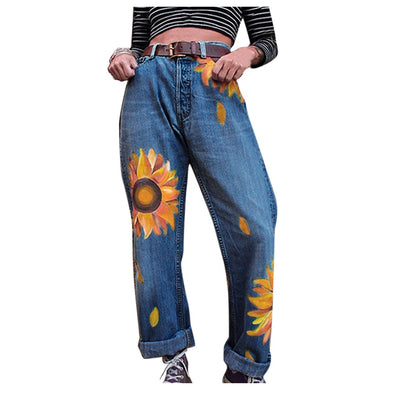 SunflowersJeans Women Casual Slim Jeans Mid Waist Slim Pants Length Jeans - Only Sunflowers