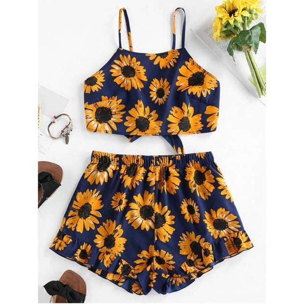 2020 Sexy Short Two Piece Set Strappy Sunflowers Print Crop Tops And Shorts Fashion Loose Sets Summer Clothes For Women Suit - Only Sunflowers