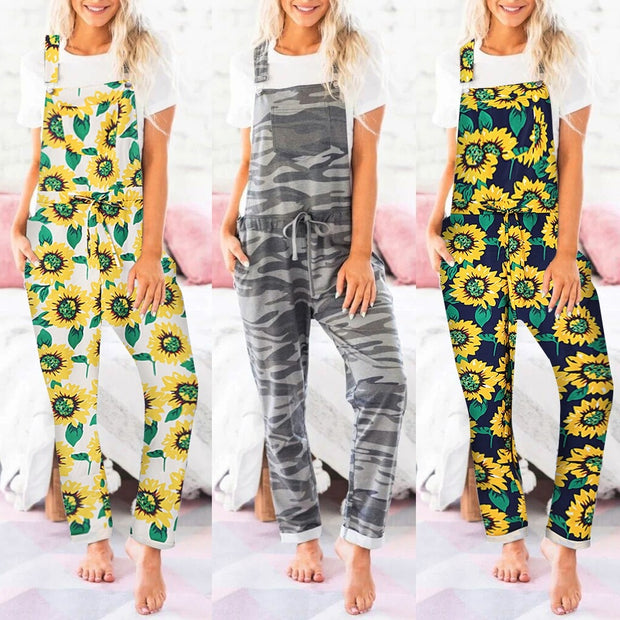 Womens Sunflower/Camo Long Pajamas Set Pocket  Overalls One Piece Jumpsuit - Only Sunflowers