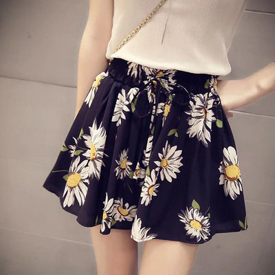 Fashion Leisure CulotteSkirts Womens Sunflower Printing Skirt Loose Holiday Beach Pleated Short Mini Skirt jupe femme#GH40 - Only Sunflowers