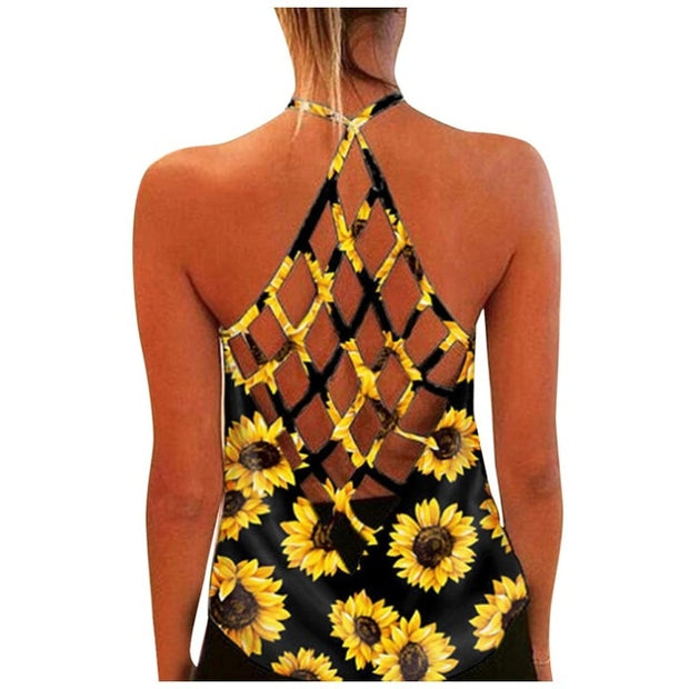 Womens Sunflower Print O-Neck Sleeveless Sexy Blouse Vest Fashion Tank Top Women's Casual Loose Fit Plus Size, Women Tank Top - Only Sunflowers