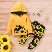Infant Baby Boys Girls Pullover Hoodie Tops+Sunflower Print Pants Outfits Set newborn toddle winter warm clothes suit for girls - Only Sunflowers