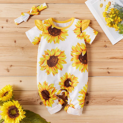 Summer Newborn Infant Baby Girls Short Sleeve Sunflower Printed Frill Romper Playsuits +Headbands Outfit Clothes Sunsuit new - Only Sunflowers