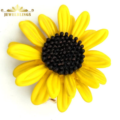 Autumn Jewelry Yellow Sunflower Brooches Gold Tone Black Pistil Centered Classic Vintage Sun Flower Pins Broach for Women Coat - Only Sunflowers