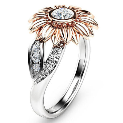 Exquisite Women Ring Two Tone Floral Ring Round Rhinestone Rose Sunflower Luxury Ring For Women Jewely Accessories Gift - Only Sunflowers
