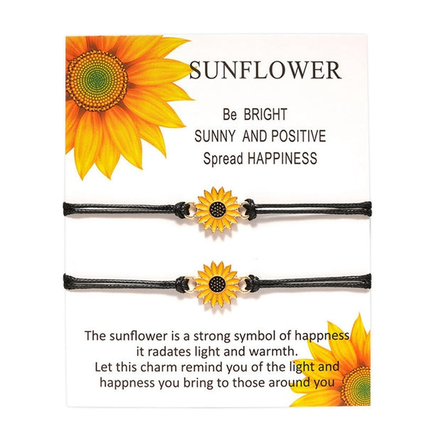 Bohemian Cute Enamel Sunflower Charms Braided Bracelet For Women Child Adjustable Rope Chain Daisy Yoga Wristband Jewelry Gift - Only Sunflowers
