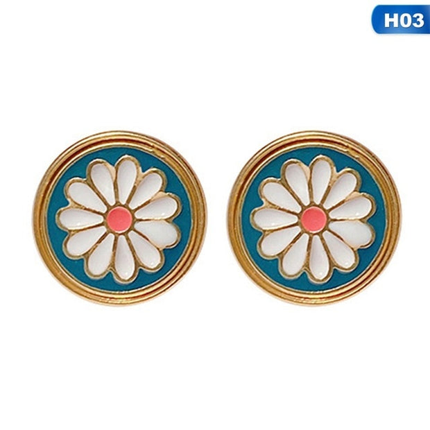 1 Pair Golden Color Sunflowers Earrings For Women Fresh Charming Lovely Cute Simplicity Style Daisy Flower Trendy Ear Studs - Only Sunflowers