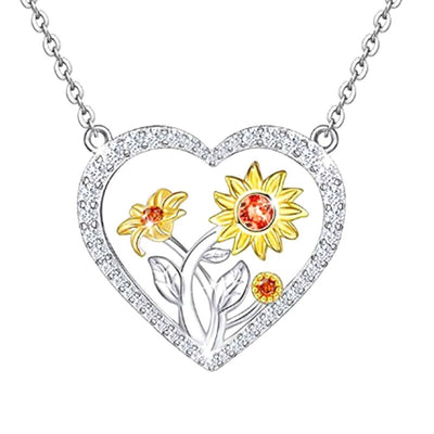 New Women Sunflower Heart Necklace Sunflower Pendant Necklace Men Gifts Free Dropshipping - Only Sunflowers
