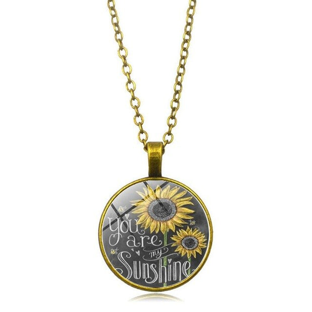 Vintage Fashon Glass Sunflower Pendant Necklace Retro bronze chain Women You Are My Sunshine Flower Choker Necklace Jewelry Gift - Only Sunflowers