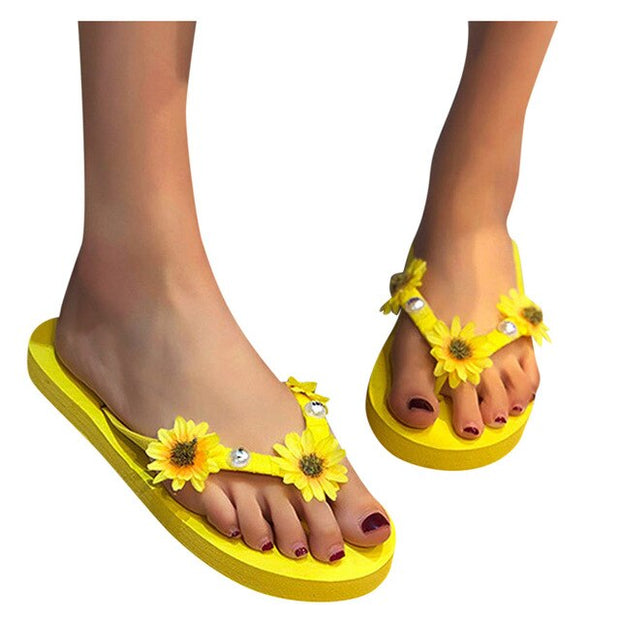 Sunflower Slippers Women Flats Flip-flops Open Toe Comfortable Casual Shoes Slippers Femmes Chaussures Slip On Women Slippers - Only Sunflowers