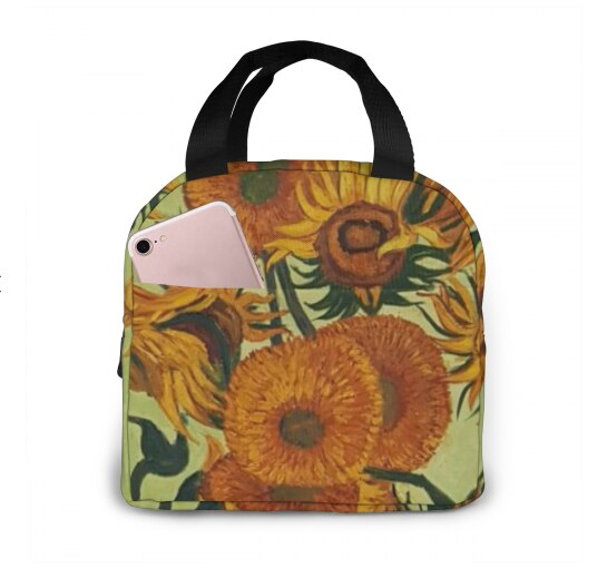 NOISYDESIGNS Sunflower Print Kids Girls Lunch Bag Children Oxford Cloth Thick Aluminum Foil Food Bag bolsa termica Dropshipping - Only Sunflowers