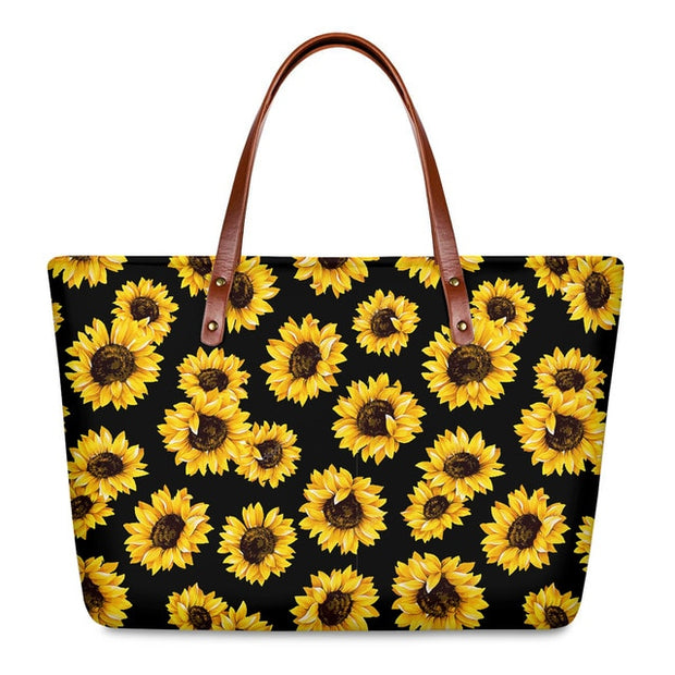 FORUDESIGNS Women Sunflower Handbags Set Fashion Daily Print Beach Shoulder Bags Designer Brand Bags Women PU Leather Hand Bags - Only Sunflowers