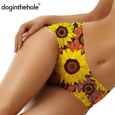 Sunflowers Painting Print Women Sexy Briefs Breathable Comfortable Underwear bragas mujer Seamless Floral Print Panties - Only Sunflowers