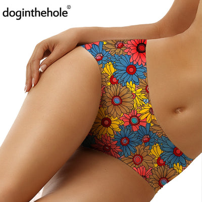 2020 New Floral Print Female Underwear Beautiful Sunflowers Pattern Briefs Traceless Comfortable Panties bragas mujer - Only Sunflowers