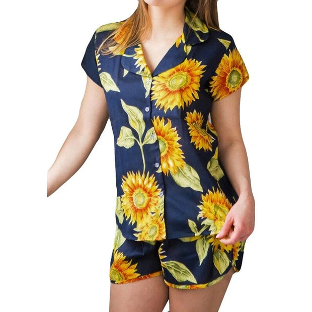 Floral Print Pijama Women Pajamas Sunflower Sets Leisure Wear Lounge Wear Suit Home Tops+pant Sleepwear Pijama Mujer Hot Sale - Only Sunflowers