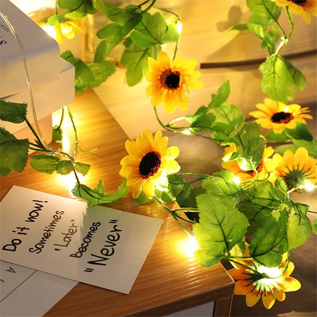 LED String 2M 20LED Plastic Simulation Sunflower Green Leaf Light String Home Decoration Lamp for Garden Wedding - Only Sunflowers