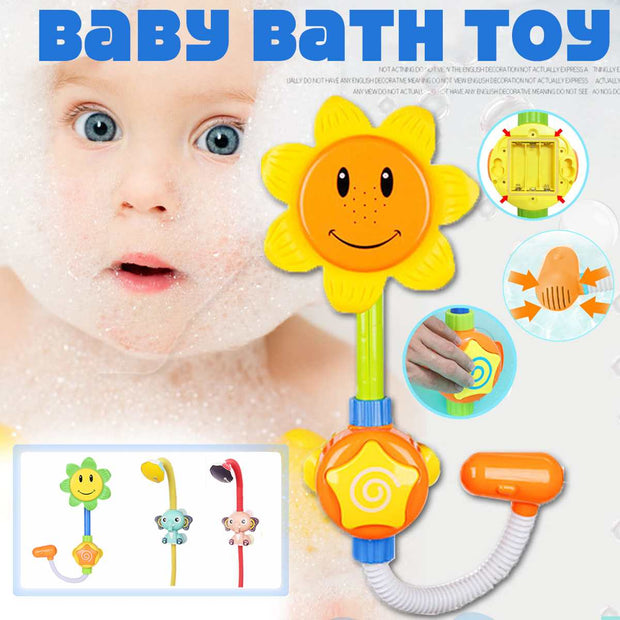 Cartoon Baby Bath Toys Sunflower Spray Water Shower Faucet Kids Bath Toy with Box Bathroom Toys for Children Water Game Playing - Only Sunflowers