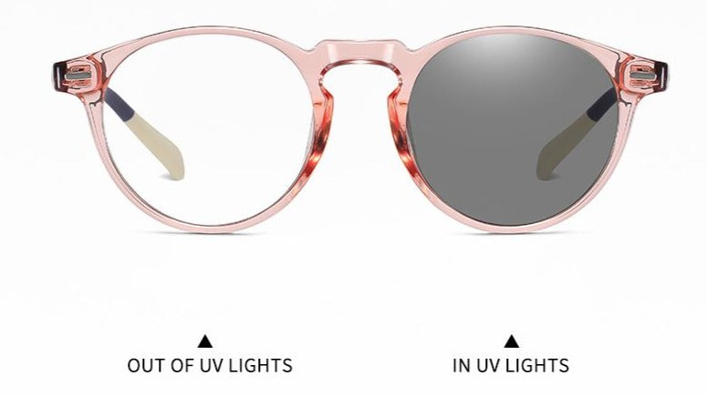 Pink stylish uni sex blue light glasses, sensitive to UV light