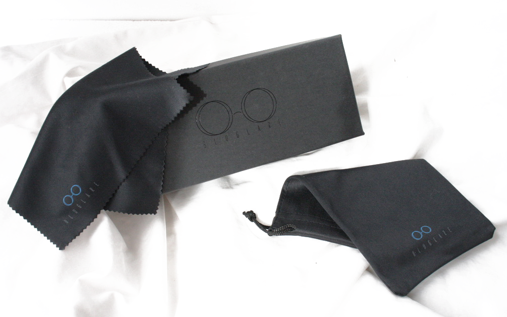 Black glasses cover with cleaning cloth