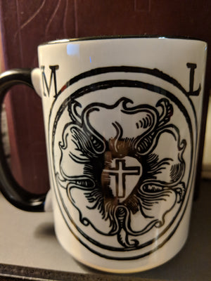 15oz side one Luther's Rose Mug with hymn text
