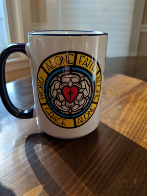15 oz Mug With Luther's Rose and A Mighty Fortress hymn