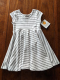 Swing Dress  White and Gray Stripe Dress