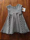 Swing Dress Black & White Stripes