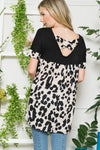 Black with Leopard Accents Top - Plus Size