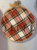 Hello in Plaid in Wooden Hoop