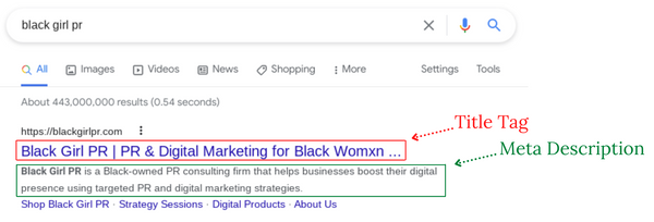 website title tag and meta description in google search