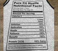 Athletic Heather (90/10)/Blk Pure Fit Hustle Nutritional Facts Tank Back